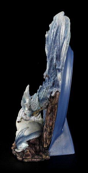 Deko Teller - Drachen Mutter mit Baby - blau