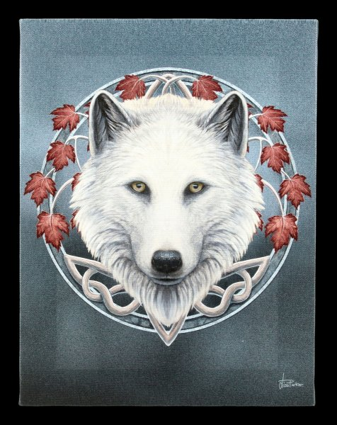 Kleine Leinwand mit Wolf - Guardian of the Fall