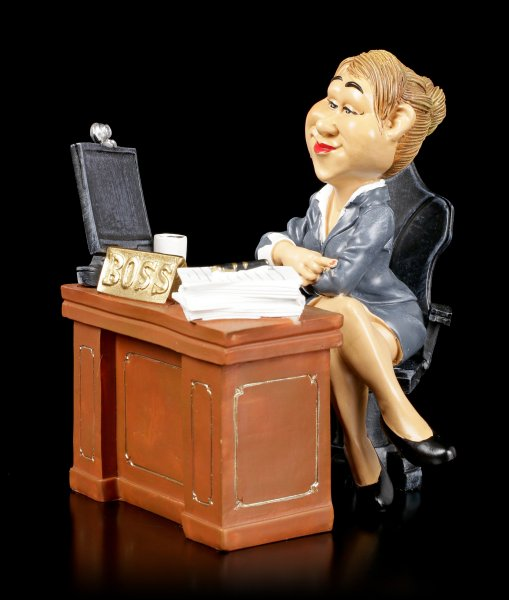 Funny Job Figurine - Lady Boss on Desk