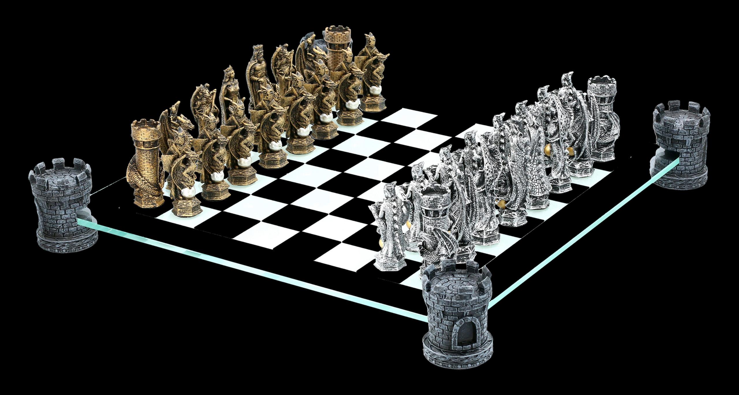drachen und ritter schachspiel auf burgturm  wwwfiguren
