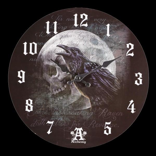 Wanduhr mit Raben - Raven Curse