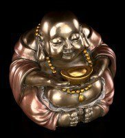 Happy Buddha Figurine - Sitting with Gold Bowl
