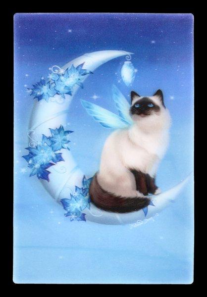 3D Postcard - Winter Moon Cat