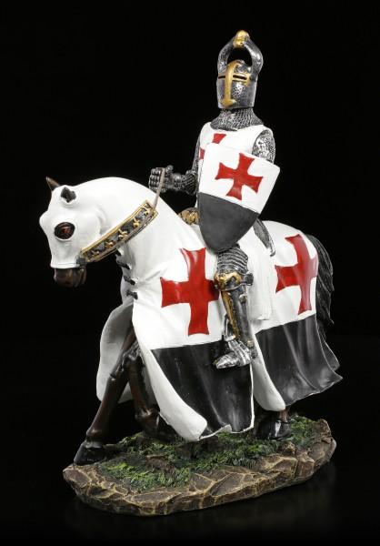 Kreuzritter Figur mit Pferd und Schild