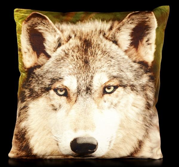 Tier Motiv Kissen - Wolf