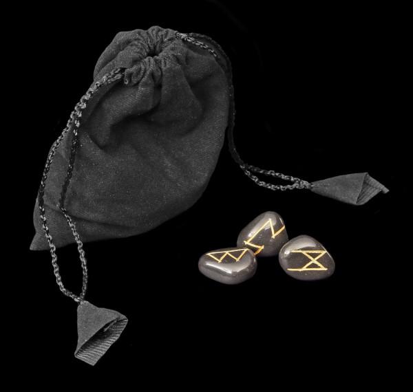 Runen aus schwarzem Achat - mit Beutel