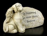 Dog Angel Figurine next to Tombstone