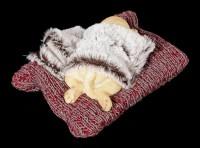 Dog Figurine asleep on red Blanket