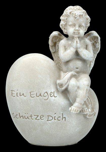 Gartenfigur - Engel sitzt auf Herz