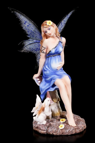Pregnant Fairy Figurine with Rabbit