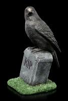 Raben Figur auf Grabstein - RIP