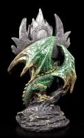 Green Dragon Figurine - With Sword and Dragon Eye