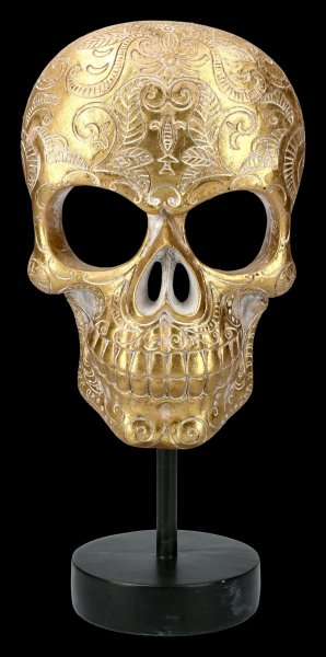 Gold colored Skull Mask on Metal Stand
