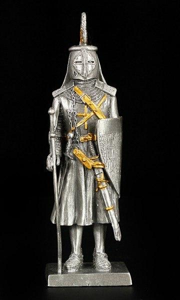 Zinn Ritter Figur - Deutscher mit Schwert und Schild