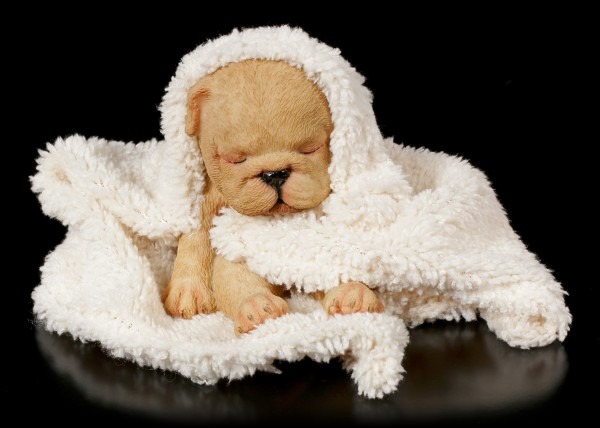 Dog Figurine asleep wrapped in Blanket