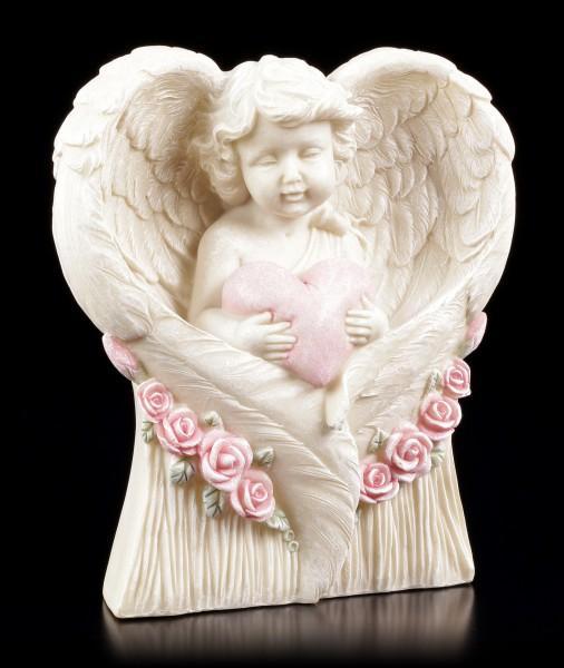 Engel Gartenfigur - Kleiner Cherub mit Herz