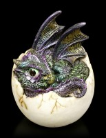 Dragon Figurines - 4 Babies hatching from Egg - colored