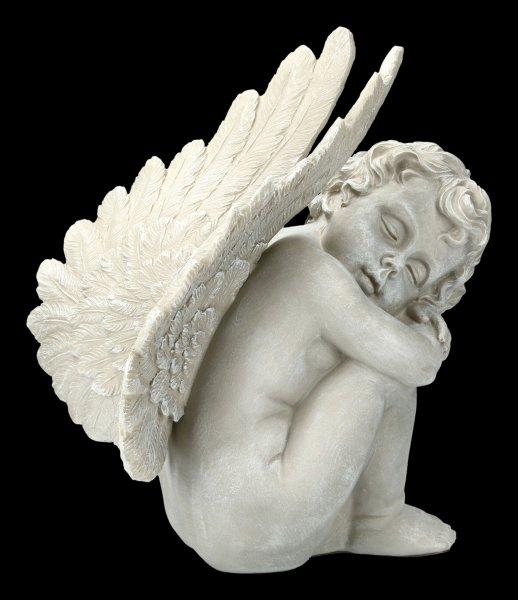 Gartenfigur - Engel hockend mit großen Flügeln