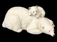 Gartenfigur - Eisbär mit Jungem auf Rücken