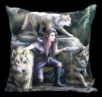 Satin Cushion with Wolves - Power Of Three