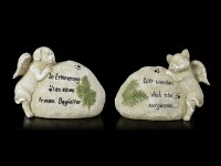 Dog and Cat Angel Figurine next to Tombstone - Set of 2