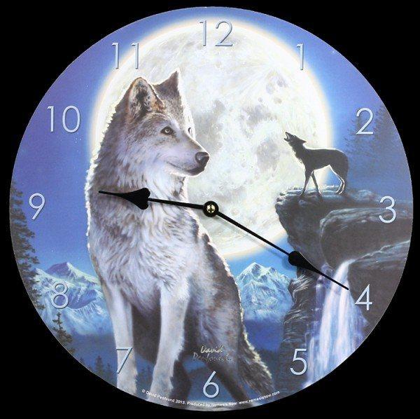 Wolf Mond Wanduhr - Blue Moon