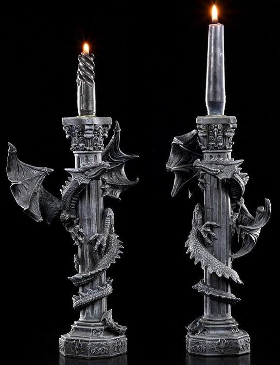 Candlestick - Dragon on Column - Set of 2