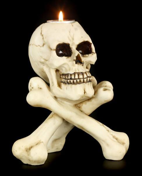 Teelichthalter Totenkopf - Skull & Crossbones
