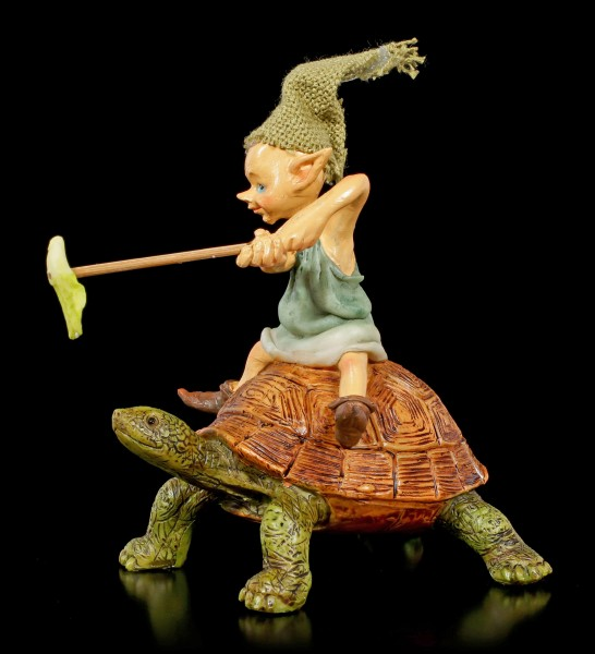 Pixie Goblin Figurine rides on Turtle