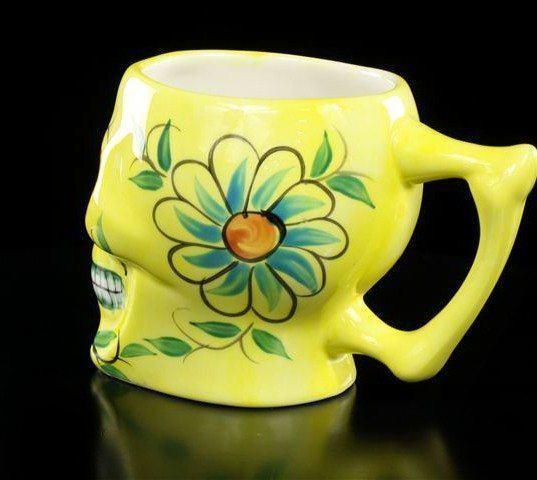 Mexikanische Totenkopf Tasse - gelb