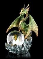 Drachenfigur mit Schneekugel - Emerald Oracle