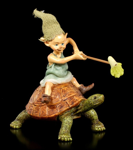 Pixie Goblin Figurine rides on Turtle