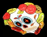 Heart Dish - Day of the Dead Skull - Autumn Leaves