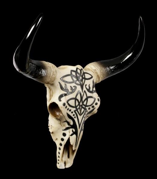 Großes Wandrelief - Stier Schädel mit Tribals