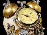 Steampunk Totenkopf Uhr im Wecker Look