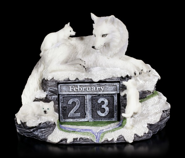 Wolf Figurine as Calendar - Mother's Watch