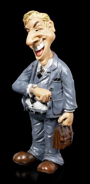Funny Job Figur - Vertreter schaut auf Uhr