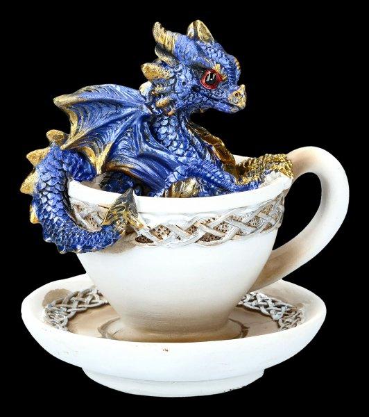 Dragon in Cup Figurine - Dracuccino - blue