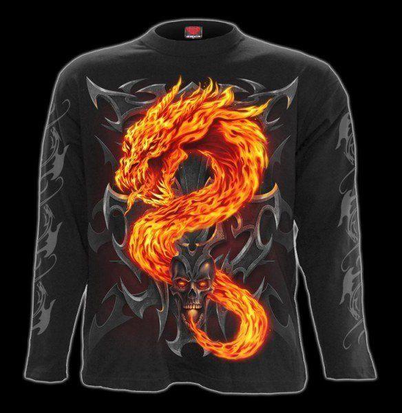 Langarmshirt - Drache & Totenkopf - Fire Dragon