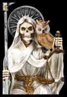 Sitzende Santa Muerte Figur - weiß