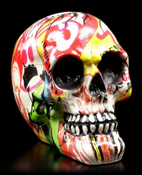 Bunter Totenkopf mit Markenwerbung - Pop Art - klein