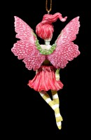 Christmas Tree Decorations - Poinsettia Fairy with yellow Stockings