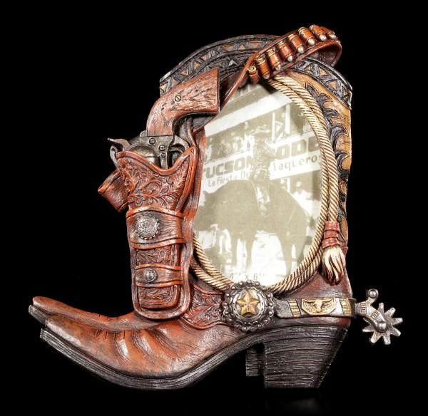 Wilder Westen Bilderrahmen - Pistole mit Cowboy Stiefel