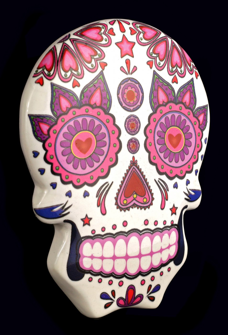 Magnet - Mexican Day of the Dead Skull - White