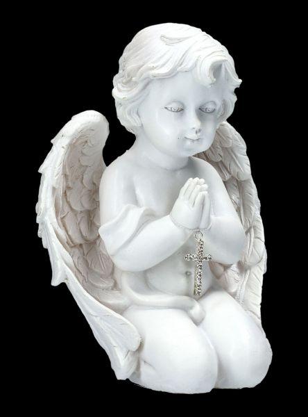 Engelfigur - Betendes Engelchen mit Kreuz