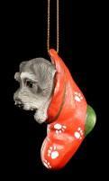 Christmas Tree Decoration Dog - Schnauzer in Stocking