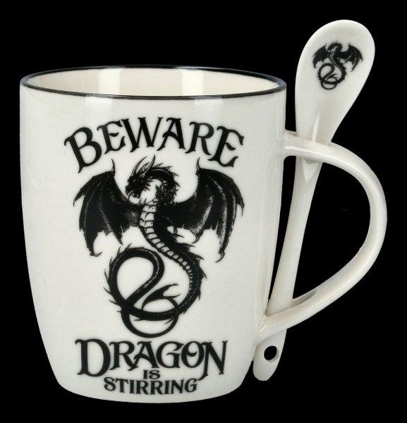 Tasse mit Löffel - Drache Beware Dragon is Stirring