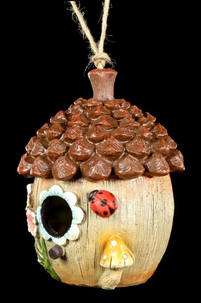 Bird House - Floral Acorn with Windows