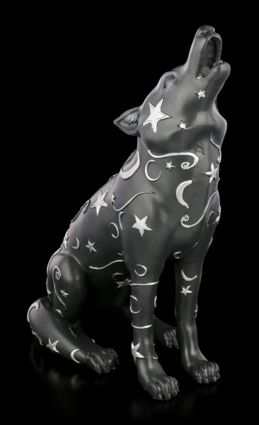 Wolf Figurine with Moon and Stars - Lupus