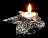 Teelichthalter - Kleiner grauer Drachenkopf